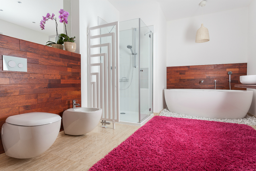 Bathroom with waterproof rug