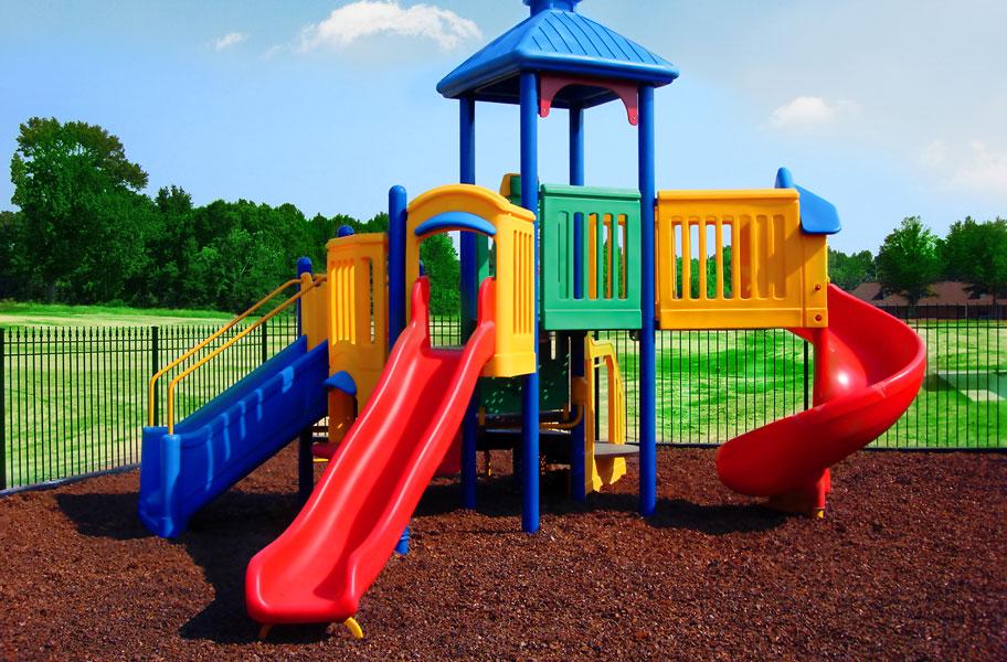 playground structure on top of playground mulch