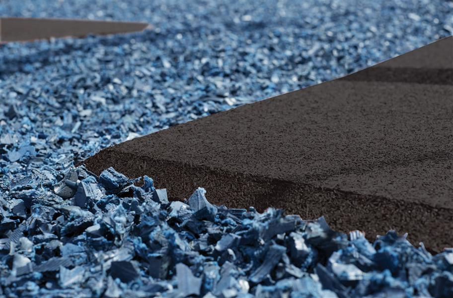 playground rubber mulch in blue