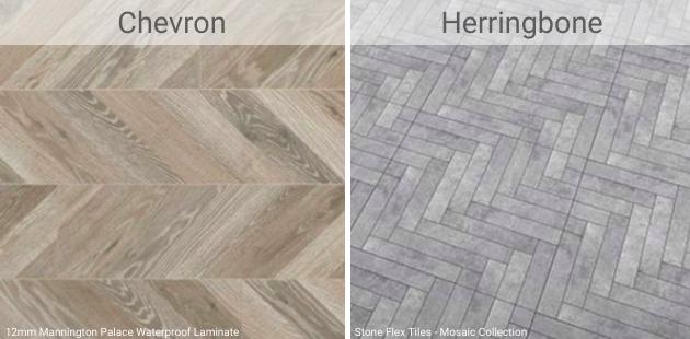 Chevron vs. Herringbone Patterns Graphic
