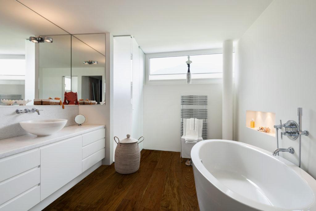 FlooringInc waterproof engineered hardwood flooring in a bathroom