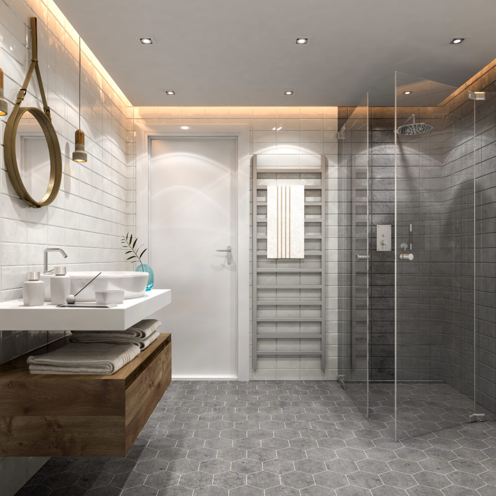 Modern bathroom with hexagon tile flooring