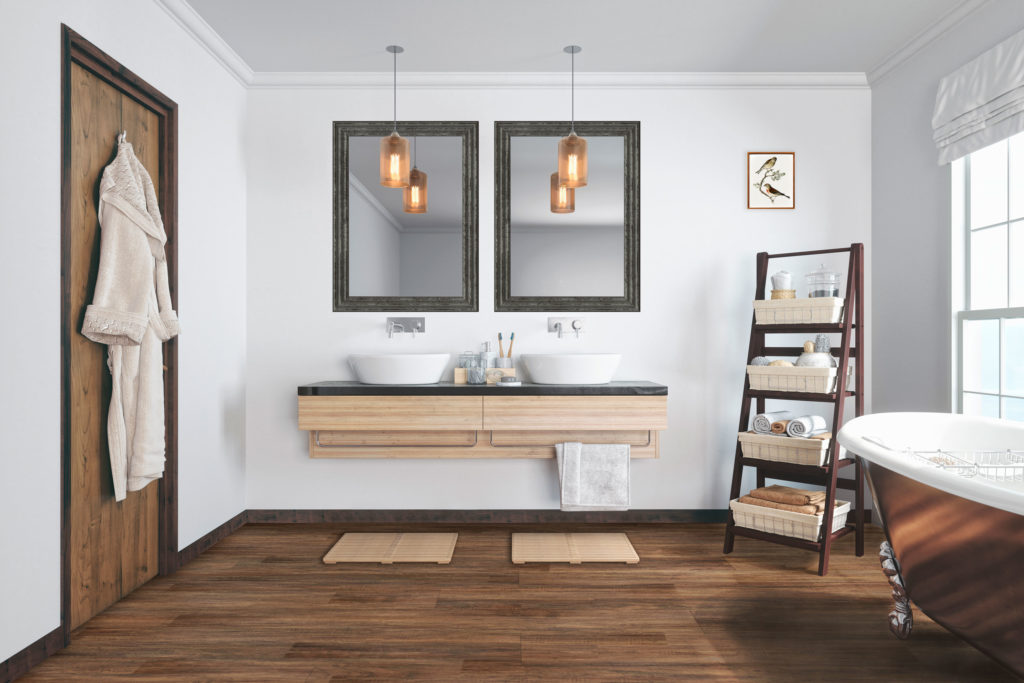 Bathroom with wood-look flooring