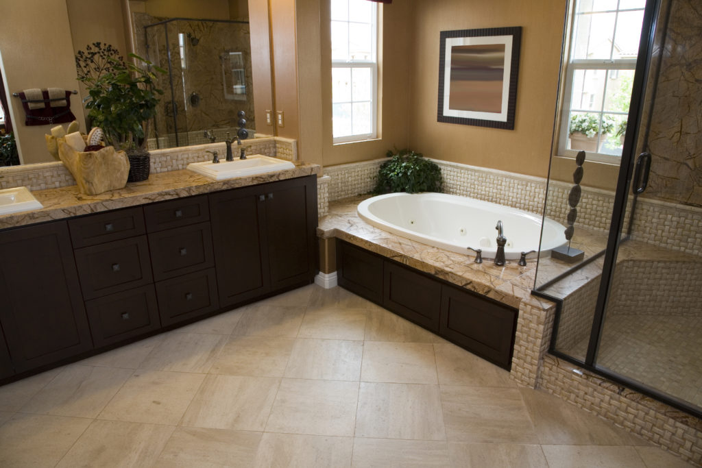 Luxury bathroom with modern tile flooring