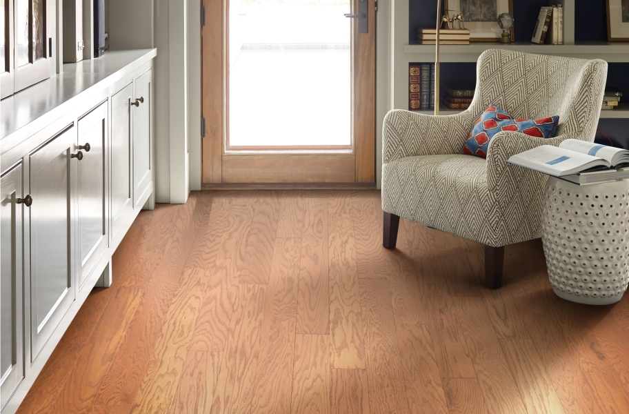Copper toned wood flooring