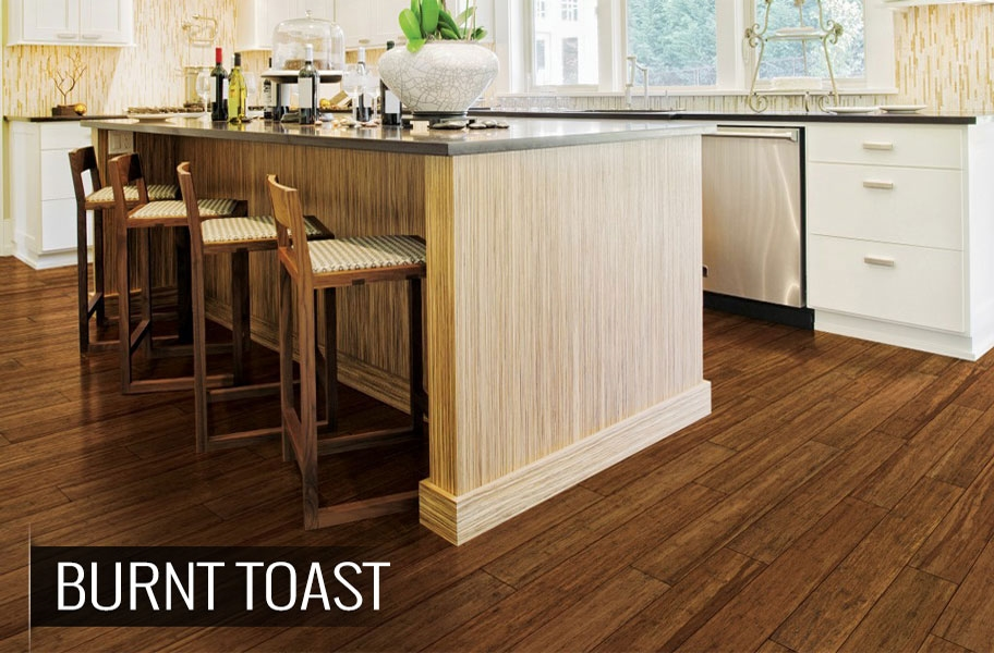 FlooringInc 2020 wood flooring trends: dark bamboo in a kitchen setting