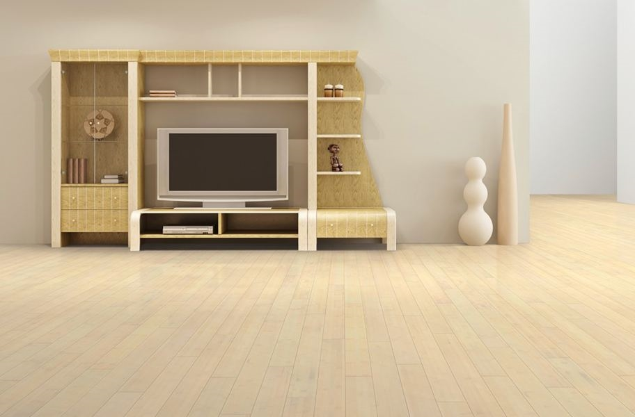 FlooringInc 2020 wood flooring trends: Blonde wood bamboo floor in a living room