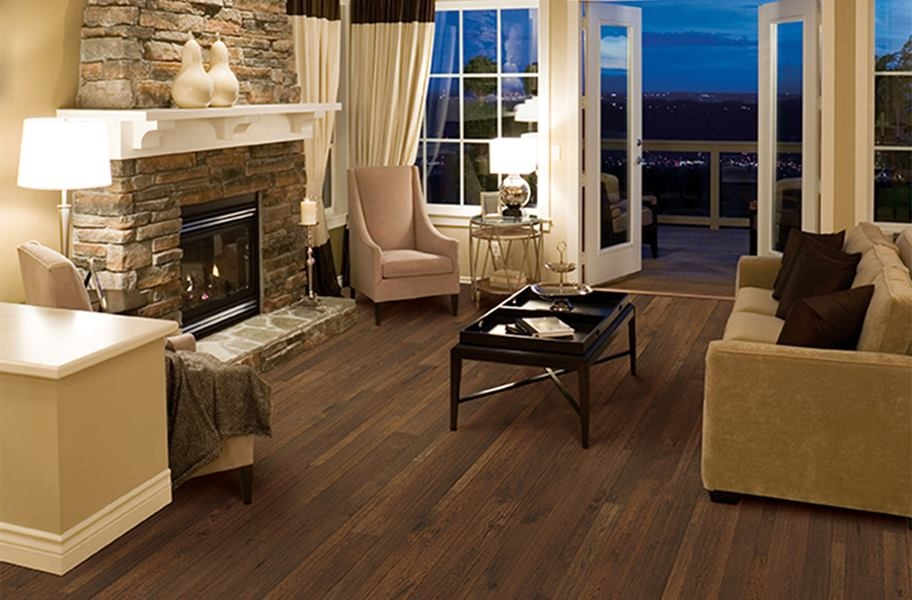 FlooringInc 2020 wood flooring trends: distressed wood texture in a living room