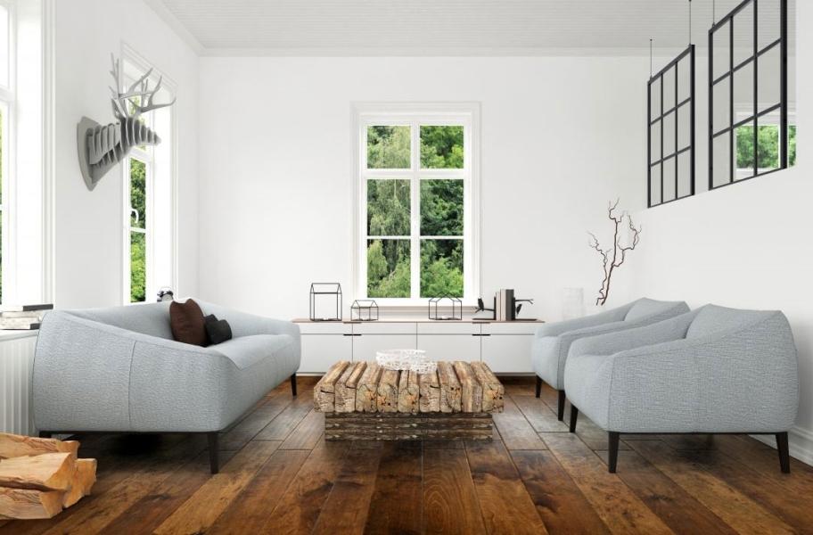 Handscraped wood flooring in a living room setting.