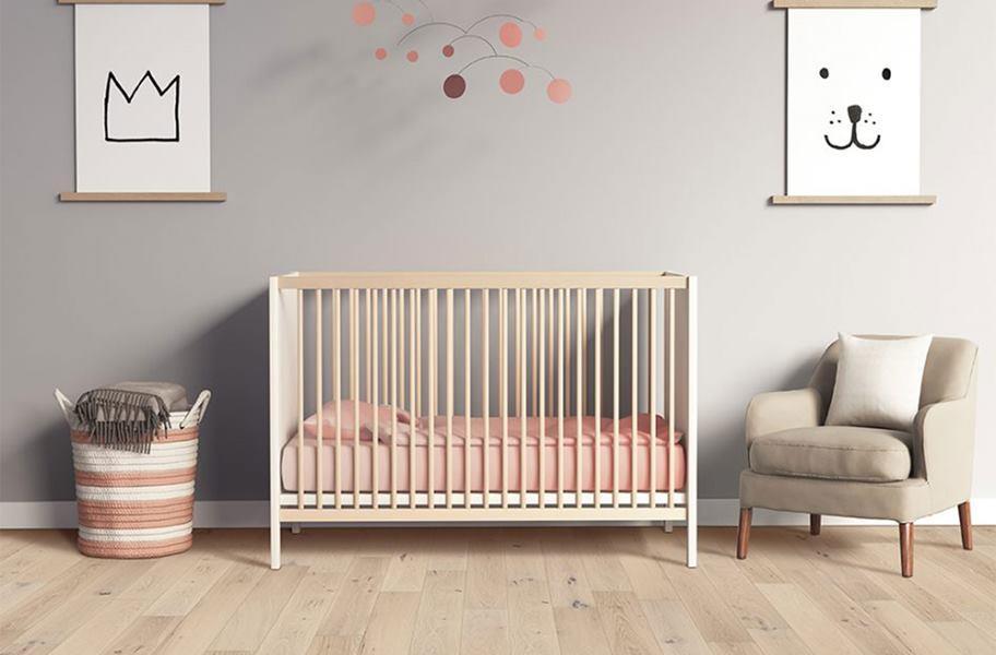 FlooringInc engineered hardwood in a nursery setting