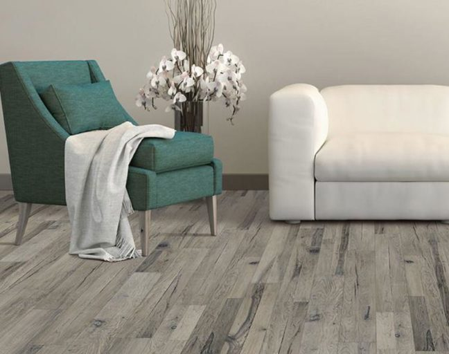 Gray engineered wood flooring in a living room
