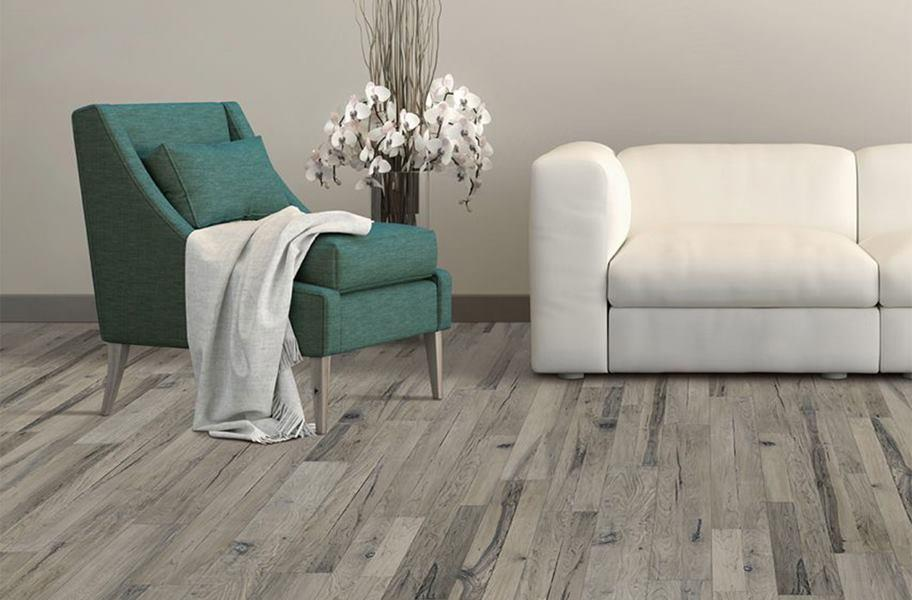 Gray engineered wood flooring in a living room