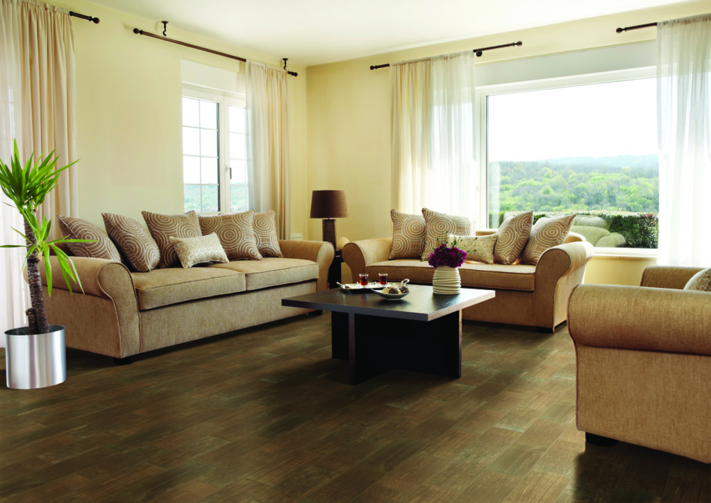 Ceramic tile flooring in a living room setting