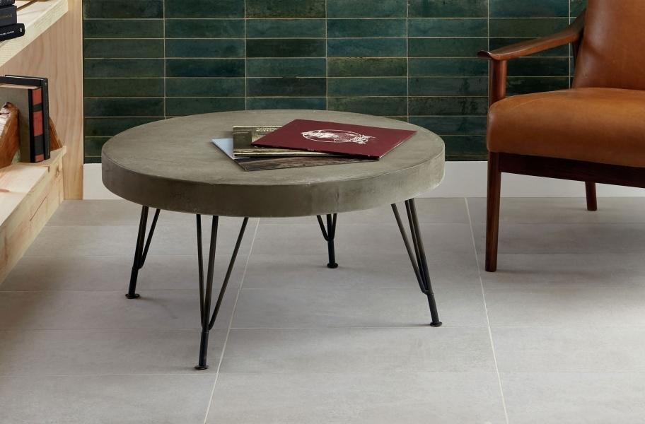 White tile flooring
