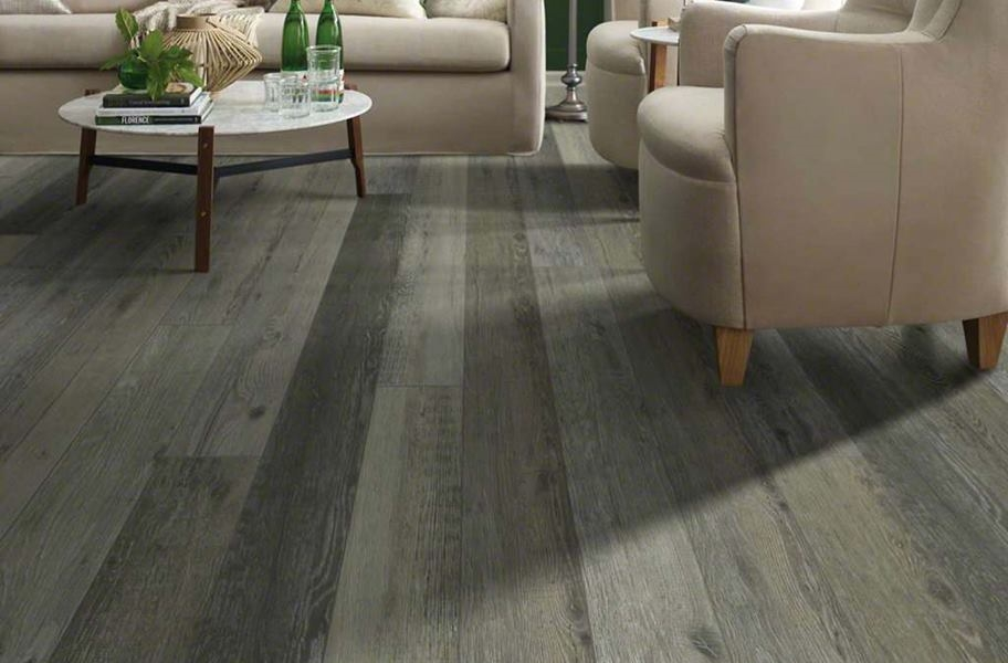 Gray wood-look flooring: Shaw Messina HD Plus Waterproof Plank