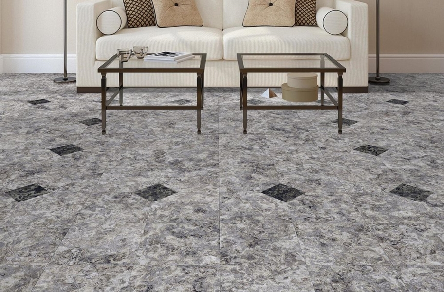 stone-look vinyl tiles in a living room setting