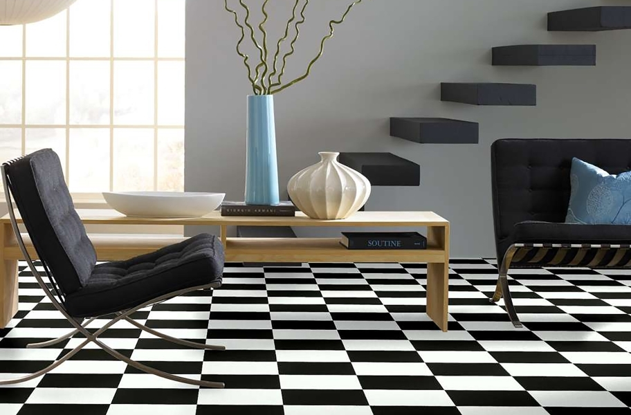 FlooringInc 2020 flooring trends: black and white checkered flooring in a living room setting