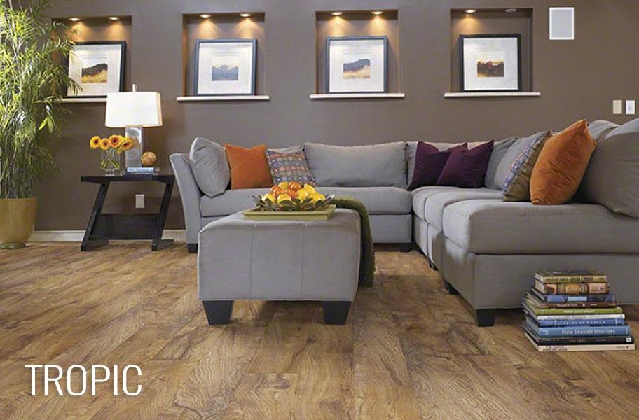 FlooringInc 2020 flooring trends: blonde wood-look flooring in a living room setting.