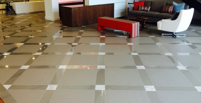 Box tile flooring pattern in a business setting