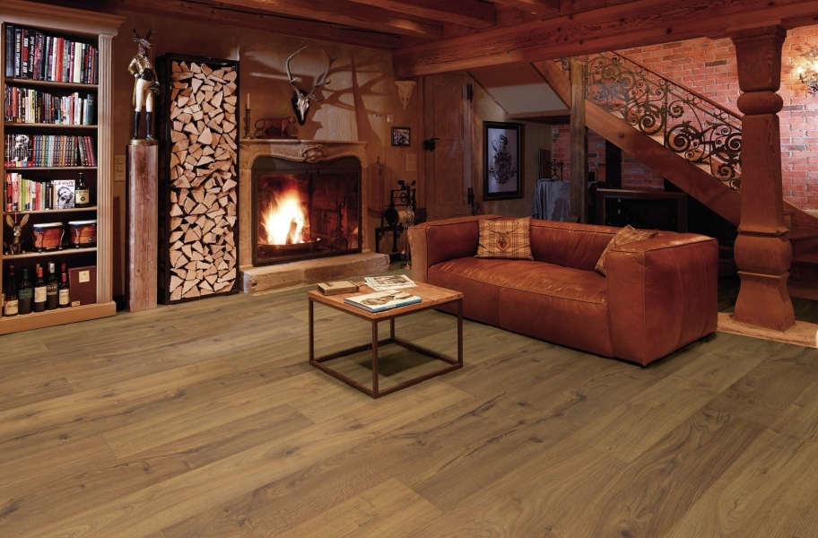 Wide Plank Laminate Floors in a Living room setting