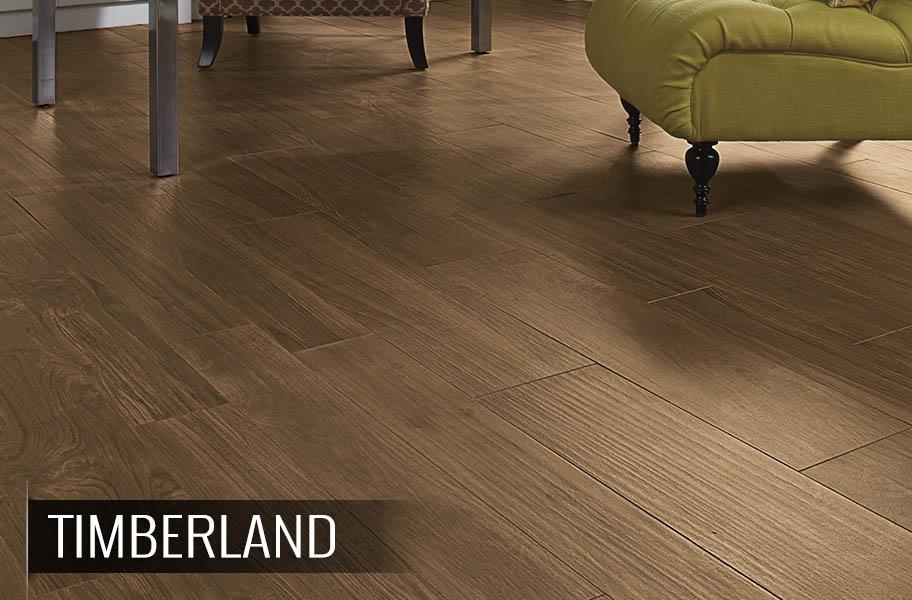 FlooringInc 2020 tile flooring trends: wood-look tile in a living room