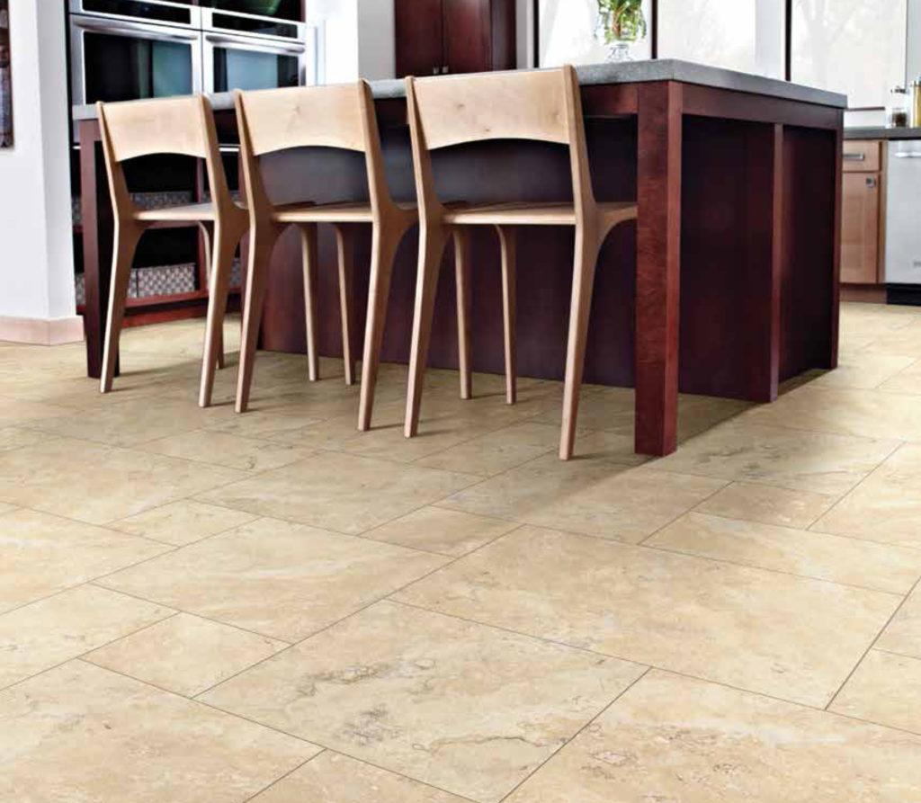 FlooringInc 2020 tile flooring trends: Versailles pattern tile in a kitchen.