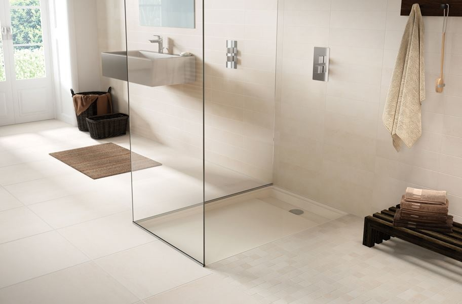 stone-look wall tile in a shower and bathroom setting