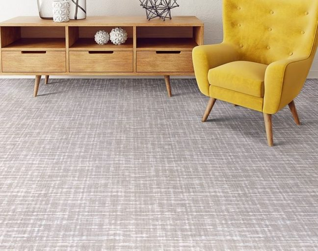 FlooringInc 2020 carpet trends: gray geometric print carpet for the basement