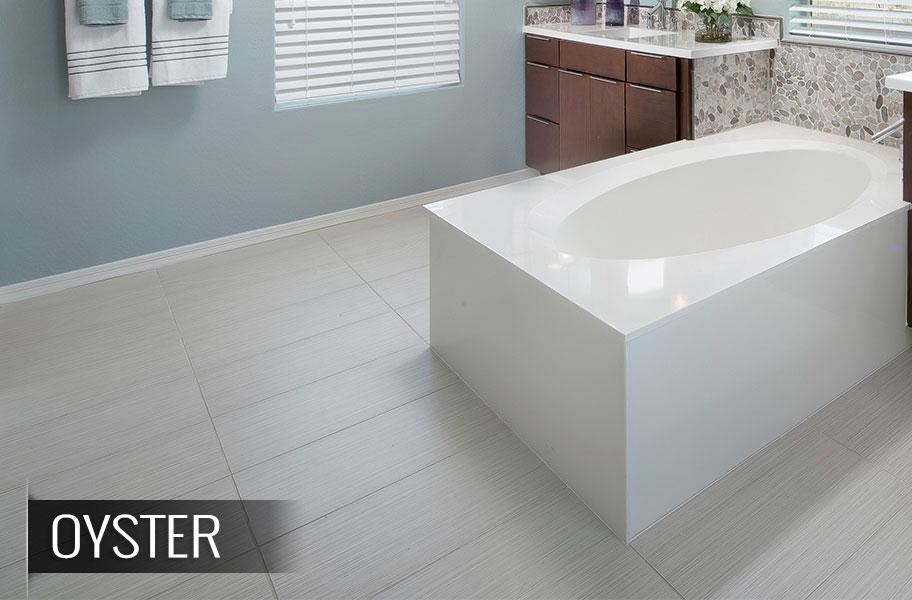 FlooringInc 2020 tile flooring trends: white tile in a bathroom setting