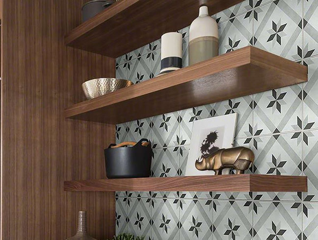 grout with patterned wall tile
