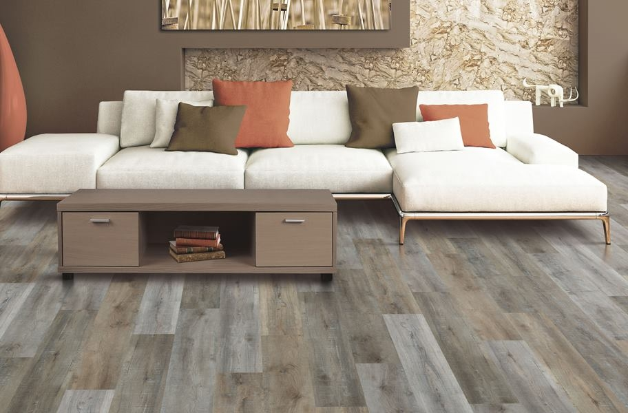 High variation vinyl plank flooring in a living room setting