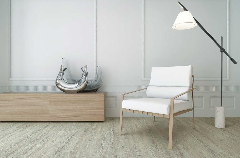 Light wood-look vinyl flooring in a living room setting