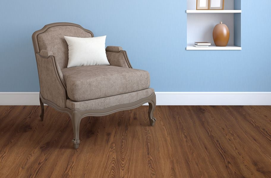 Wood-look vinyl plank flooring in a living room setitng
