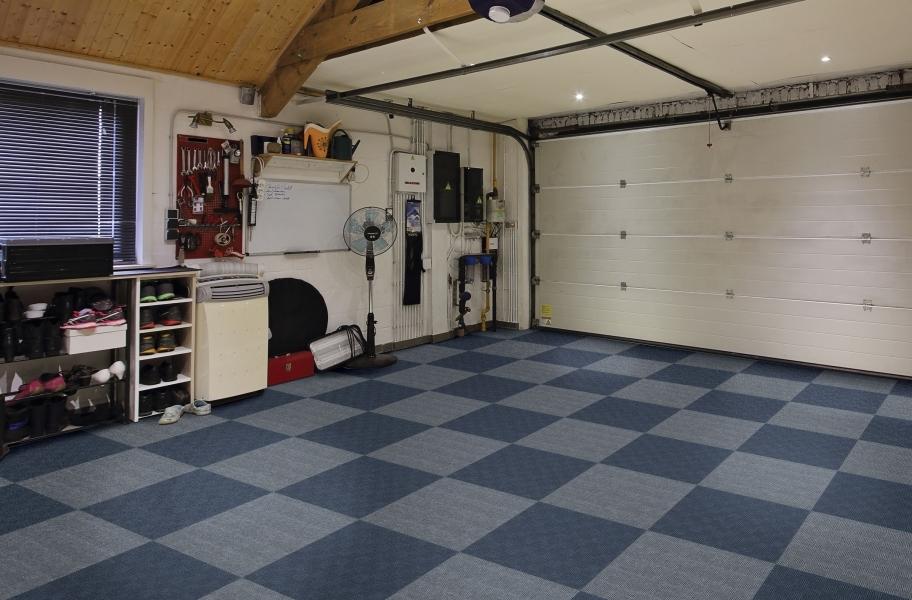 2021 Carpet Trends: Waterproof carpet in a garage setting.