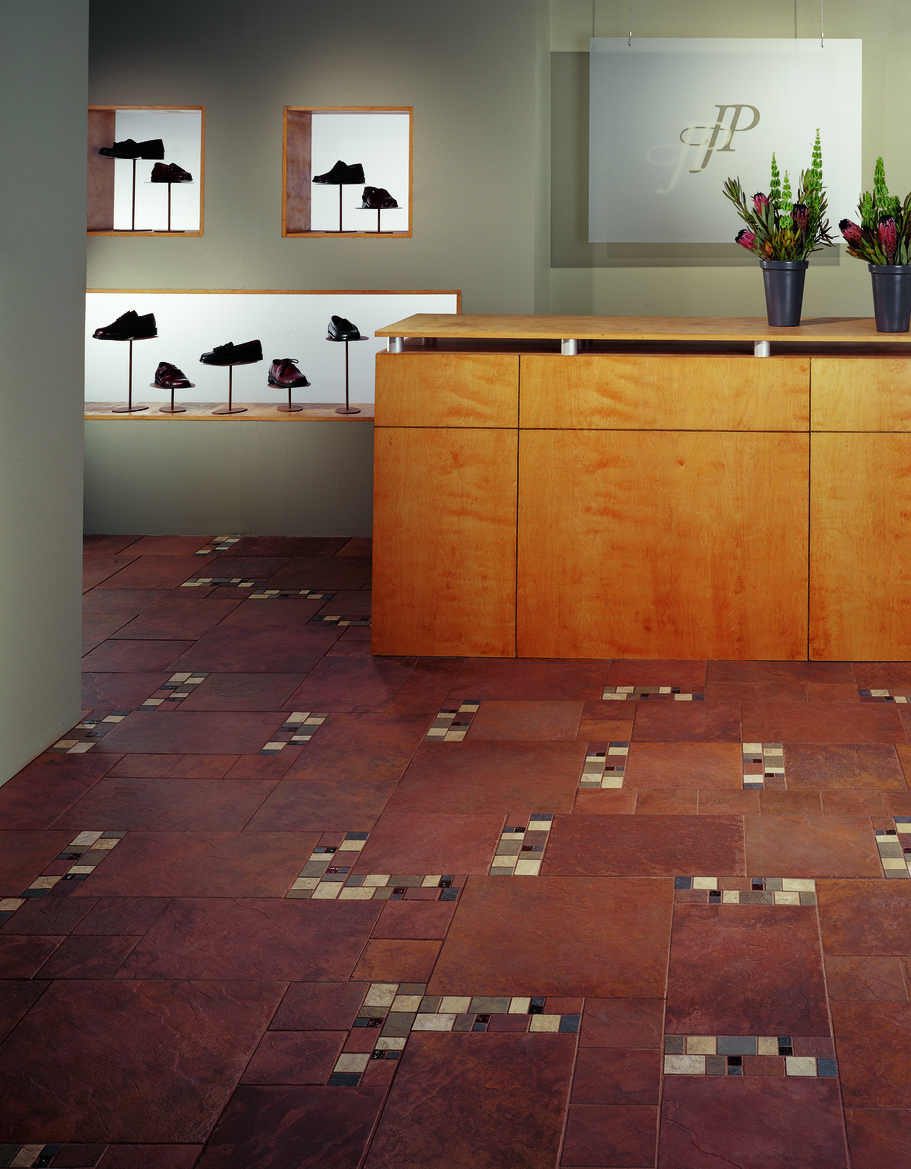 Daltile continental slate in a modified hopscotch patter