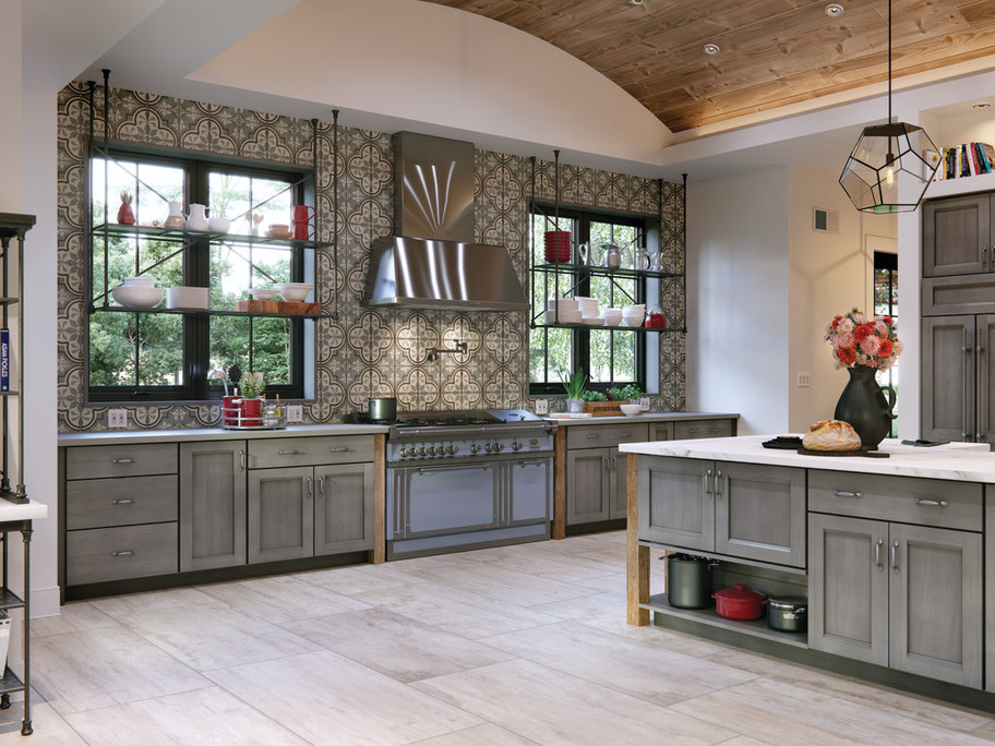 Daltile season wood large format wood-look tile in a kitchen setting