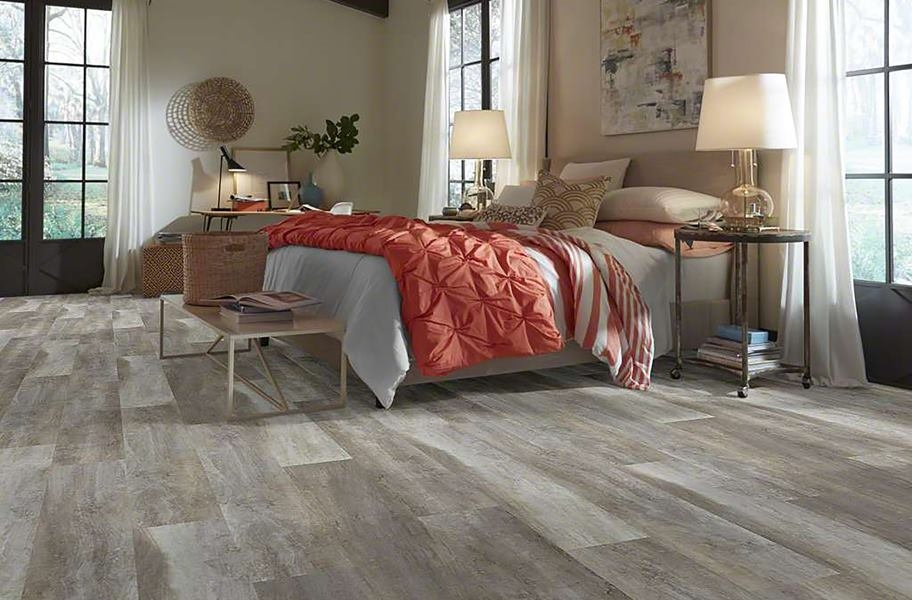 Rigid core planks in a bedroom setting