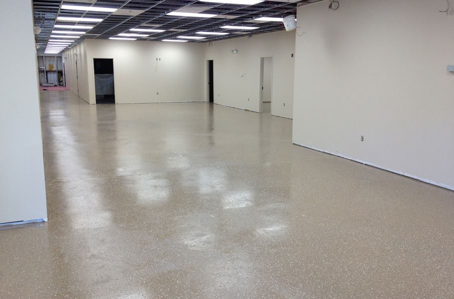 Epoxy floor coating in a commercial setting