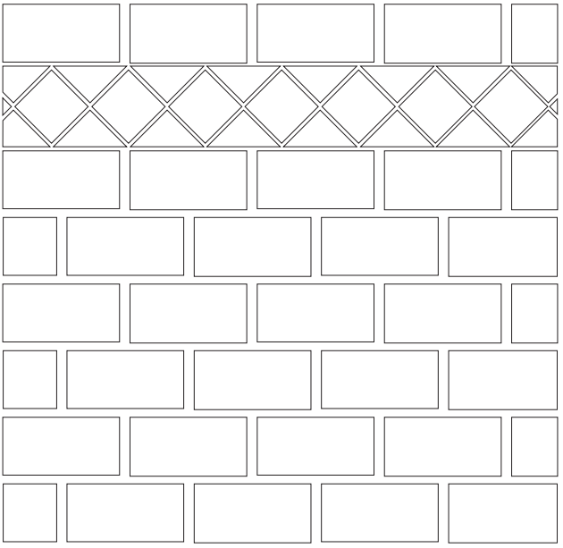 Backsplash tile layout: brickwork with a diamond border