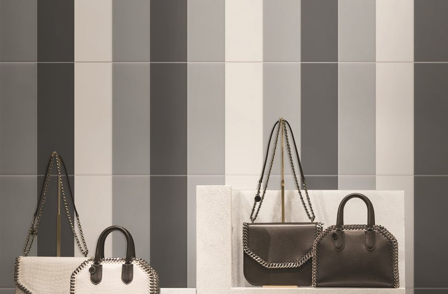 Tile pattern trends: Single tile vertical stacked pattern in a commercial setting