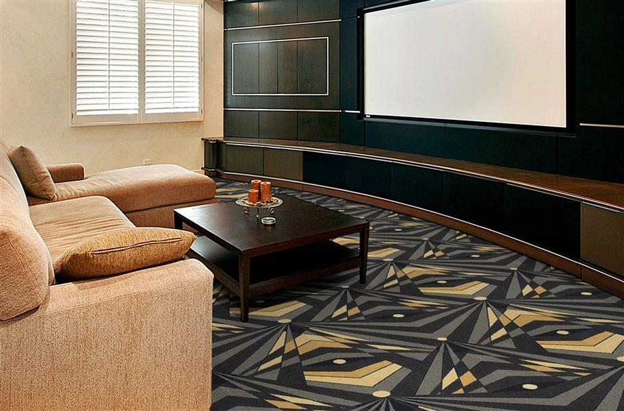 Art deco carpet pattern with a drop match in a home theater setting