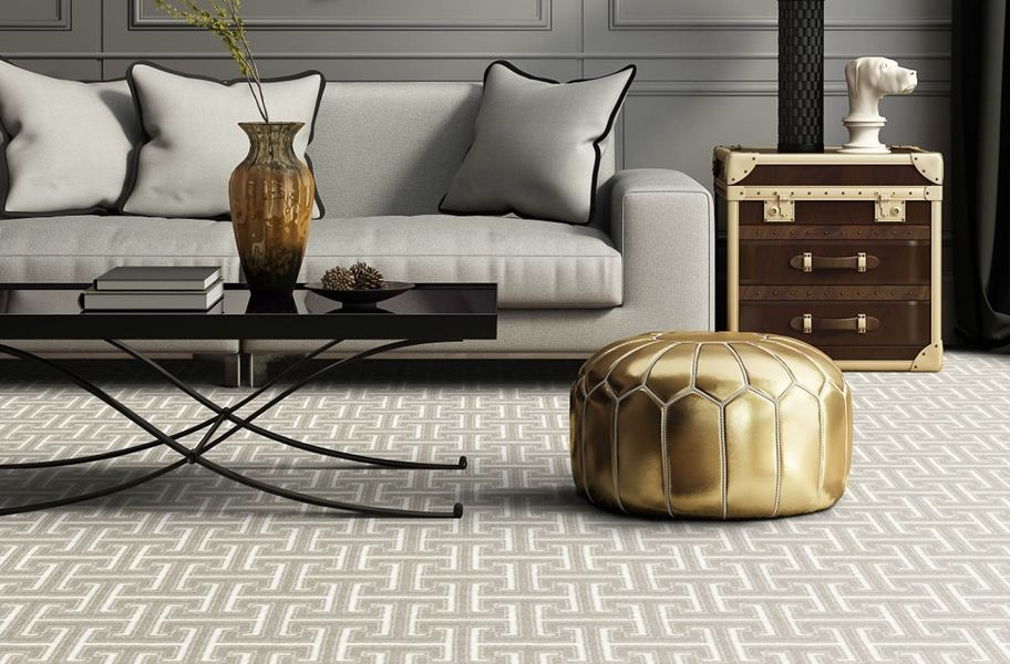 Geometric carpet with a standard drop pattern