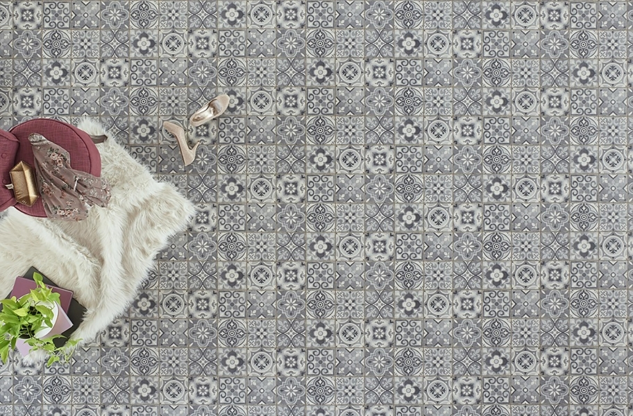 Overhead view of a Moroccan tile look vinyl sheet