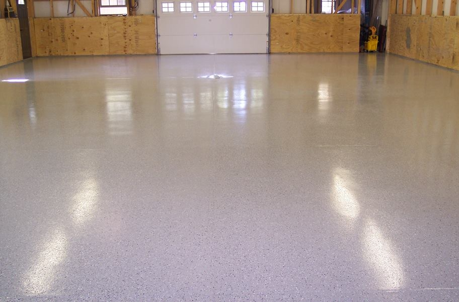 Epoxy garage floor coating in a home garage