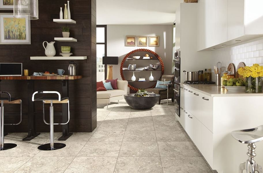 stone-look groutable luxurt vinyl tile (LVT)