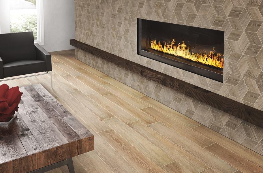 hexagon wood-look wall tile