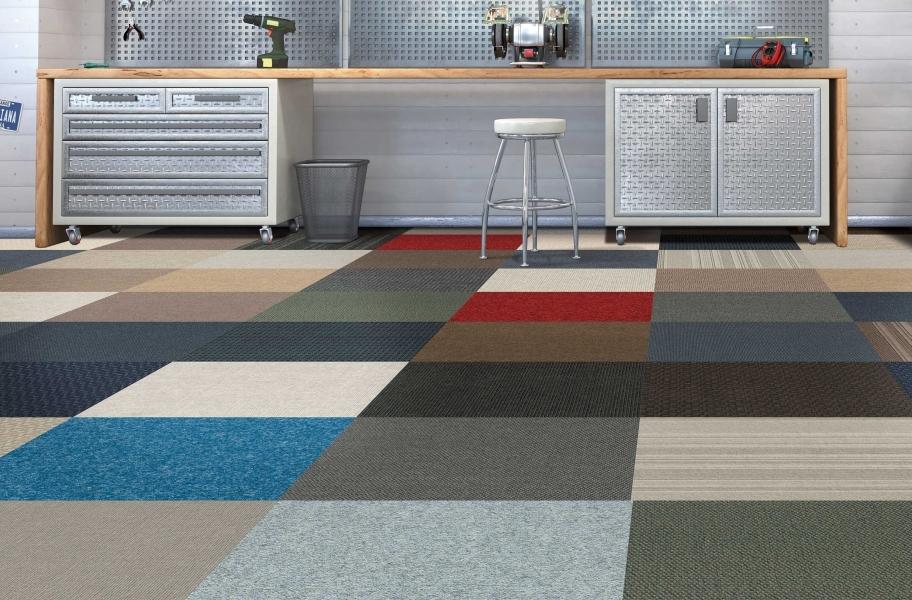 carpet squares in a garage