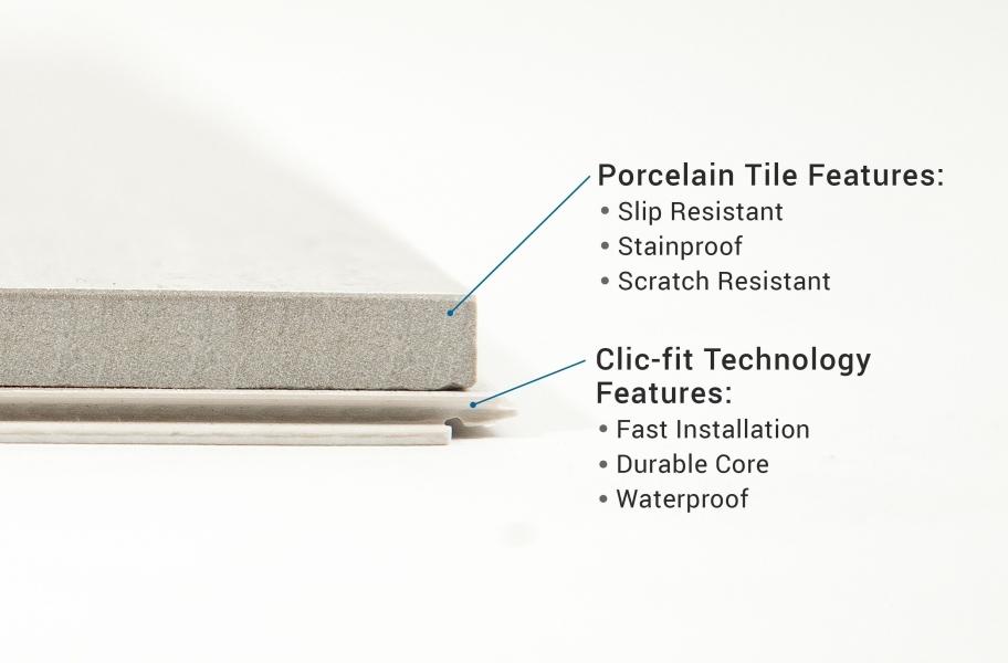 Cross section of RevoTile tile flooring