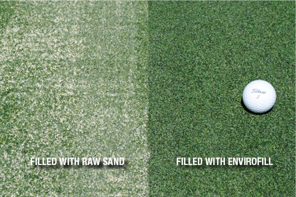 FlooringInc turf infill guide: putting green turf with sand infill vs. envirofill infill