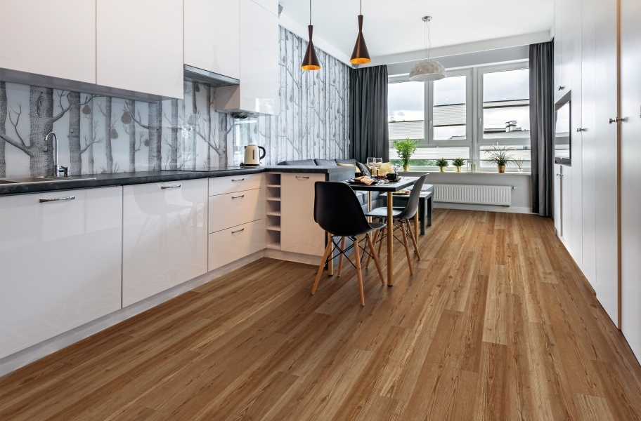 Accent Wall Ideas: rigid core vinyl flooring in a kitchen with wallpaper